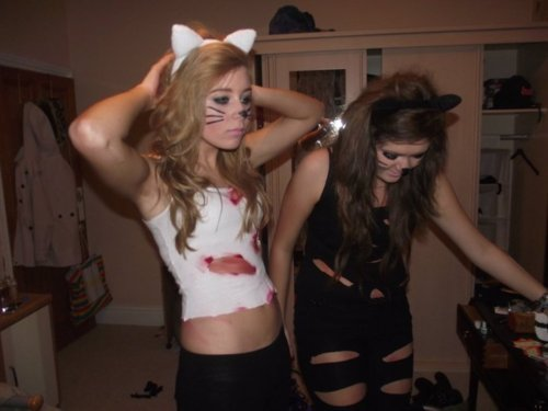 blonde, brown hair, cats, dress up, friends