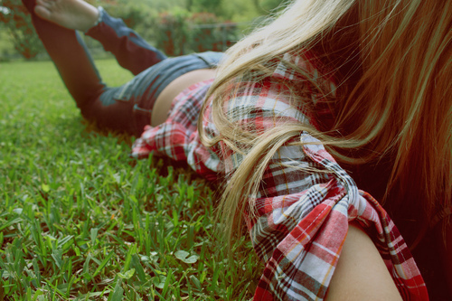 blonde, girl, grass, plaid, pretty, skinny jeans