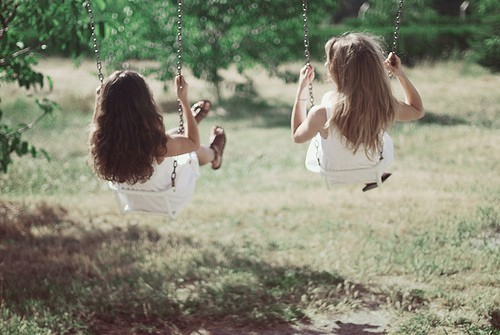 breeze, childhood, children, girl, grass, hair, kids, swing