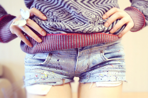 cable knit, casual, cute, fashion, mini, paint, shorts, sweater