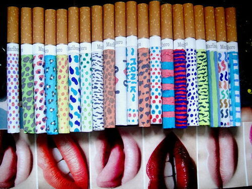 cigarettes, color, colors, colours, decorate, leopard, like, lips, lipstick, mouth, rainbow, smoke, smoking, tabaco, zebra
