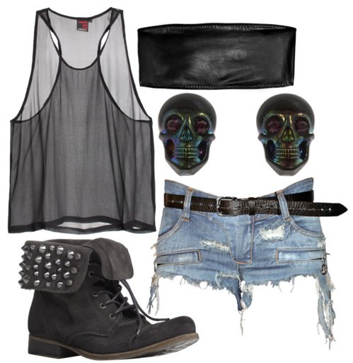combat boots, fashion, outfit, see through, separate with comma, shorts, skulls, tank top