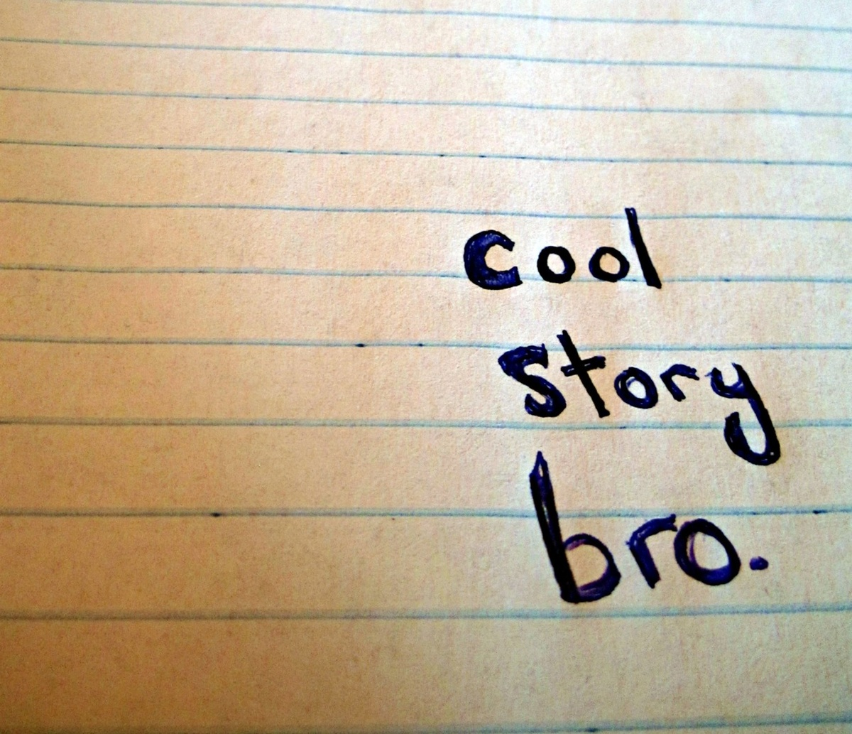 cool story bro, doodle, hand writing, meme, notebook