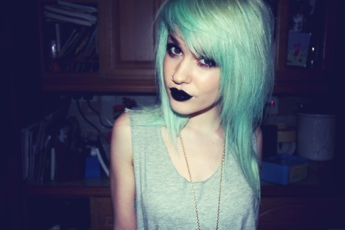 **find the source, *or just reblog, blue hair, girl, livewithoutregretxx