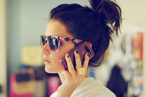 girl, glasses, hair, phone, ring