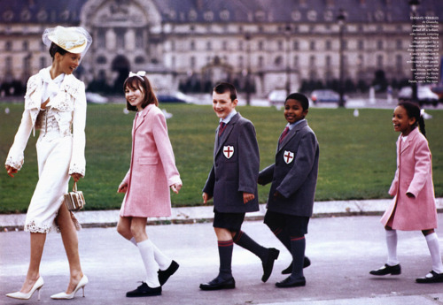 alexander mcqueen, arthur elgort, audrey marnay, dress, givenchy, givenchy haute couture, hat, jacket, kids, march 1999, ravishing couture, school, schoolchildren, uniform, vogue