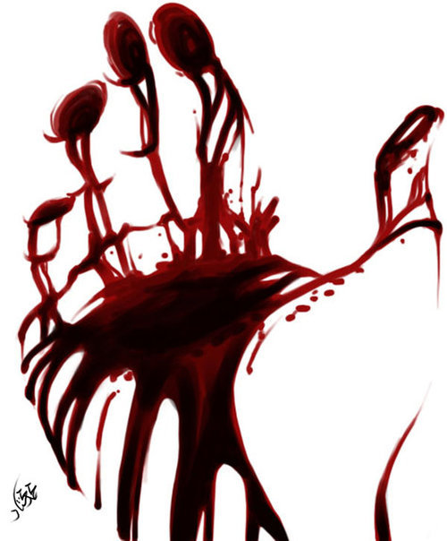 art, beyondjadee, blood, hand, red