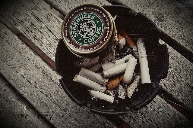 ash, cigarettes, coffee, starbucks