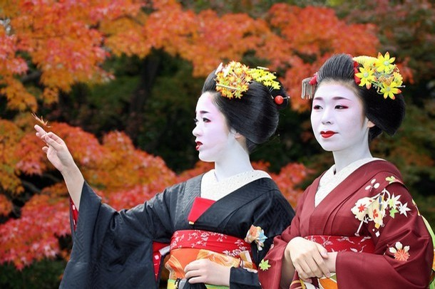 autumn, fall, geiko, geisha, japan