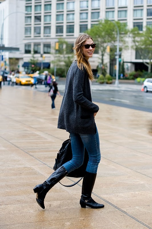 bag, boots, cardigan, denim, fashion, girl, jeans, karlie kloss, model, streetstyle, style, sunglasses, vanessa jackman