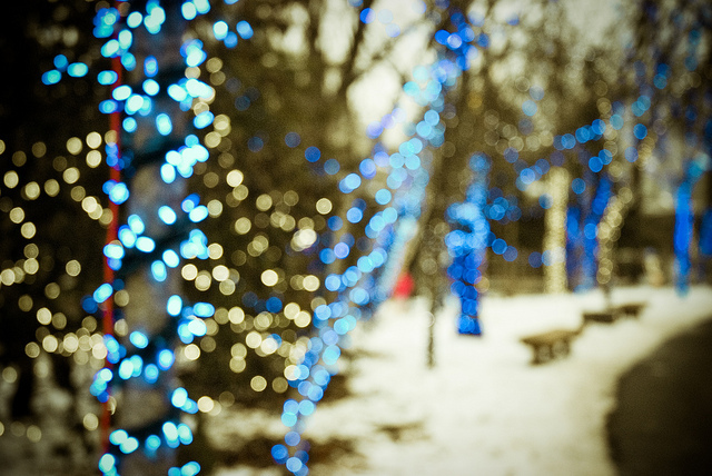 beautiful, blue, bokeh, christmas, light