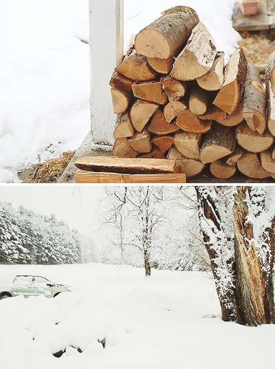 beautiful, bushes, car, fire, landscape, logs, photography, pretty, snow, tree, white, winter