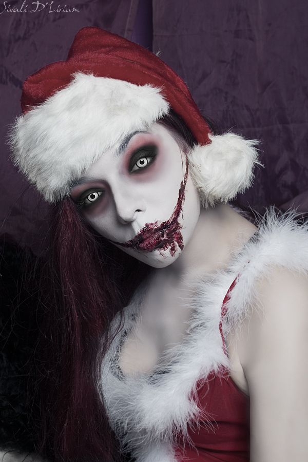 beauty, blood, christmas, dark, deviant art, deviantart, eyes, girl, hat, macabre, merry christmas
