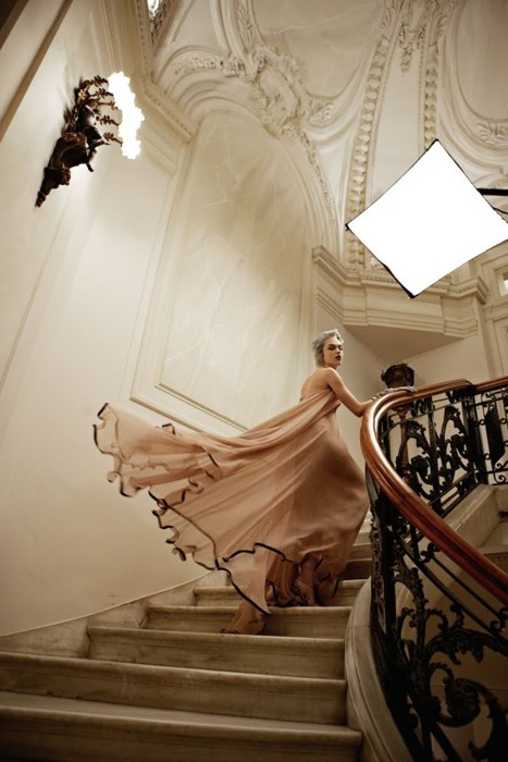 beige, december 2010, dress, gown, lifestyle, luxe, madisyn ritland, mara desypris, stairs, vogue, vogue greece, vogue hellas