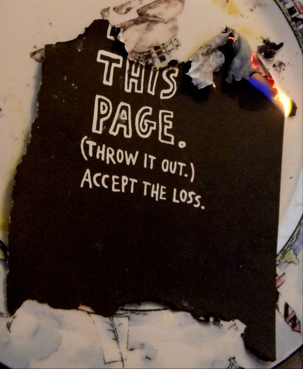 black, black and white, burn, fire, heat, journal, page, paper, this, wreck, wreck this journal