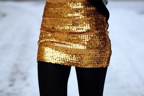 black, dress, girl, gold, golden, sequin, sequined, snow, sparkly, tights