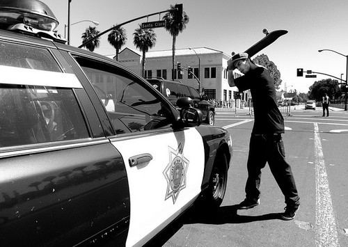 blackwhite , police, skate