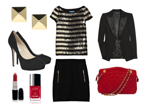 blazer, chanel, fashion, gold, heels, lipstick, mac, nail polish, pencil skirt, polyvore, pumps, red, sequin
