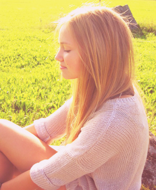 blonde, field, girl, hair, light