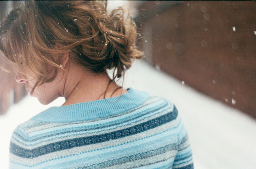blue, christmas, girl, hair, jumper