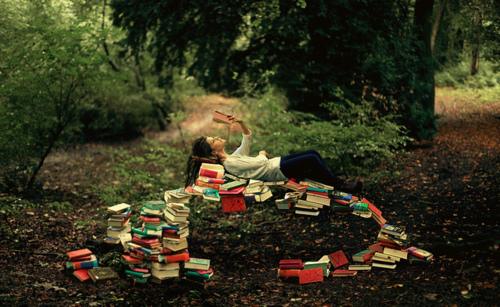 book, books, literature, model, reading, trees, woman, woods