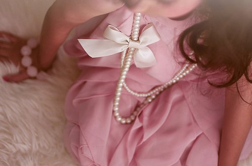 bow, girl, pearls, pink, pretty, ribbon, vintage