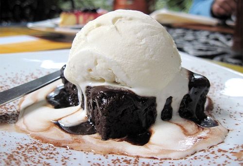 brownie, delicious, food, ice cream, petit gateau