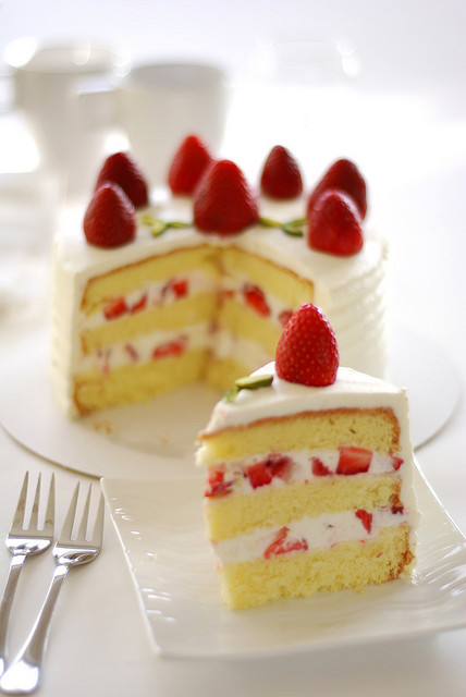 cake, food, strawberries, strawberry