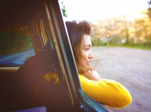 car, girl, photography, road, sweater