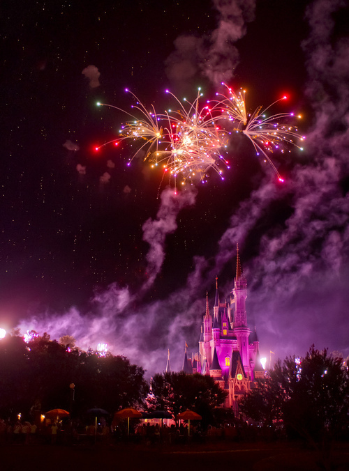 castle, disney, fireworks, magical, night, purple