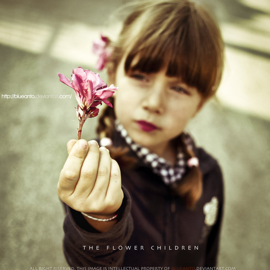 children, flower, pink