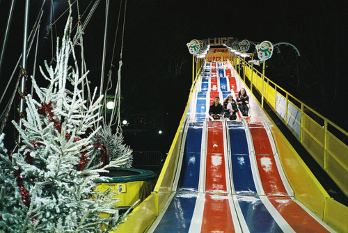 christmas, garland, night, pine, slide