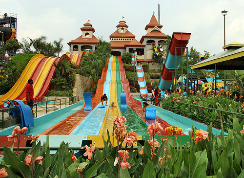 colorful, fun, holiday, slide, swimming pool