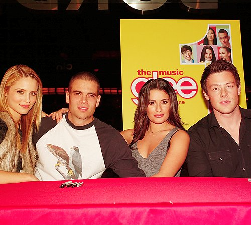 cory monteith, dianna agron, glee, lea michele, mark salling