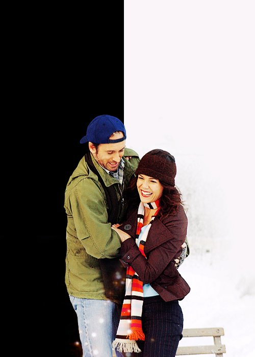 couple, gilmore girls, love, luke and lorelai, snow, stars hollow, winter