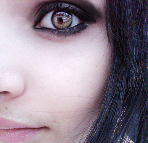 dark, dark makeup, eyes, get over yourself, green eyes