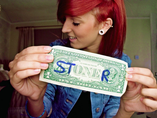 dollar, girl, plug, redhead, stoner