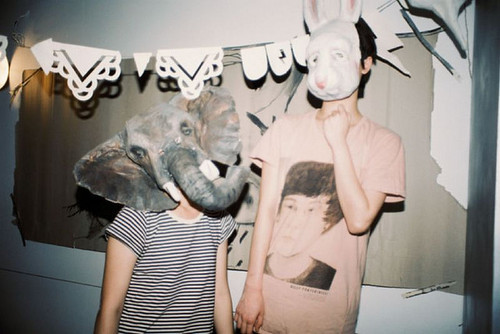 elephant, masks, party, rabbit