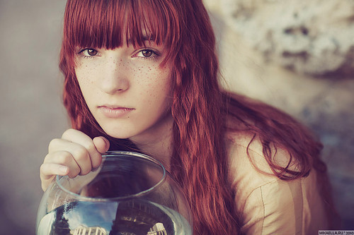 freckles, girl, naive, pretty, red hair, special, unknown