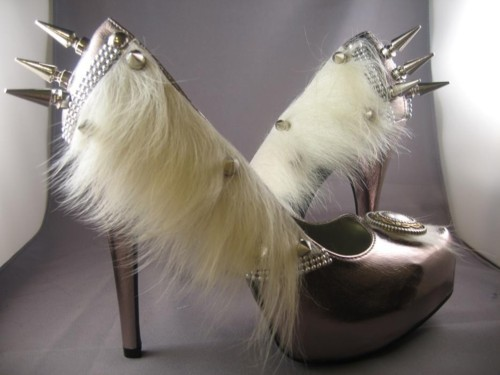 fur, heels, shoes, silver, spikes