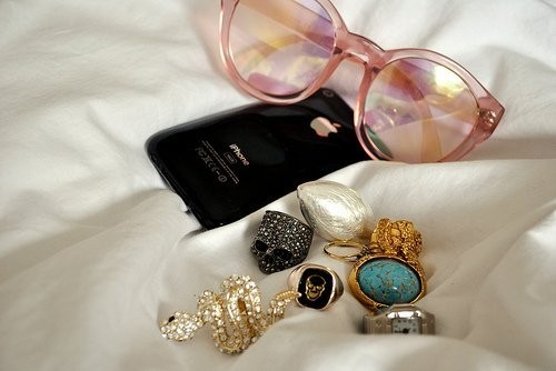 glasses, iphone 4, rings, sweet things, things