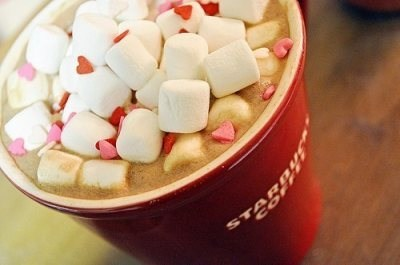 hearts, hot chocolate, marshmallows, starbucks