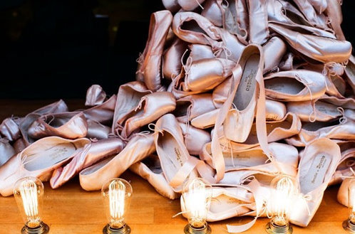 a bunch of pointe shoes, ballet shoes, dance, pointe shoes