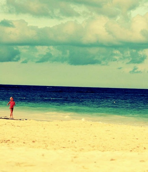alone, beach, blue, clouds, cute