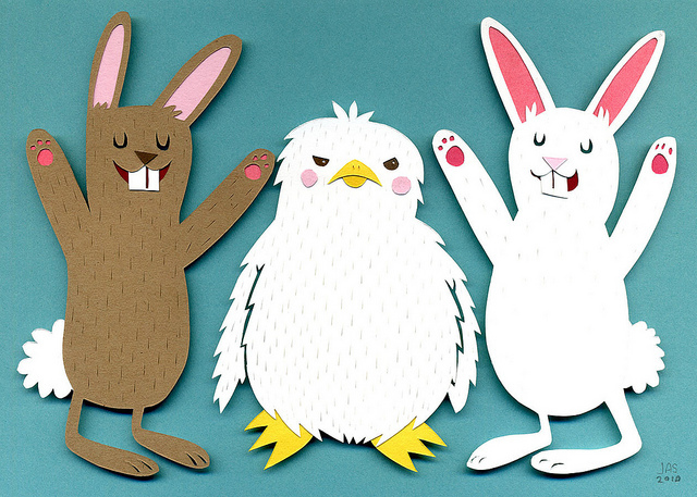 animals, bunnies, bunny, chick, collage