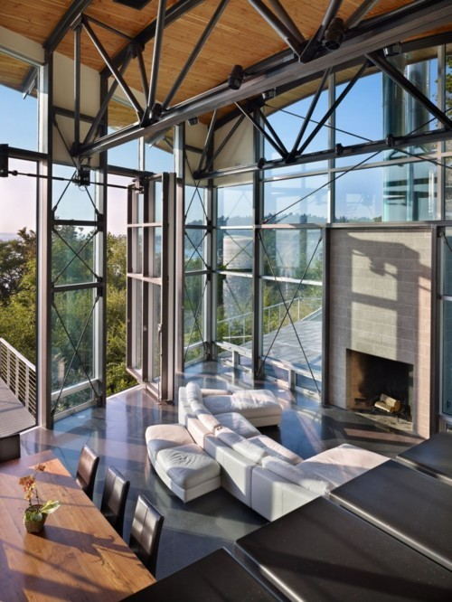 apartment, couches, fireplace, penthouse, view