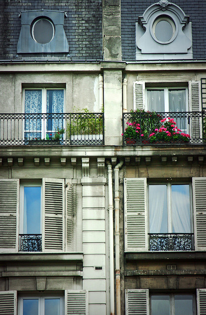 apartments, architecture, balcony, building, flowers, plants