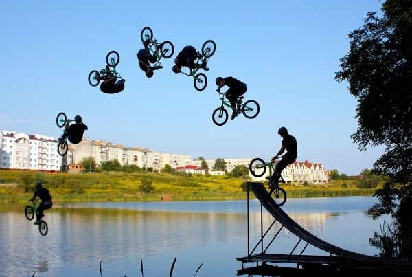 backflip, bmx, water