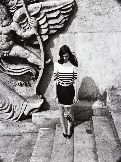 bag, black and white, brunette, dark hair, girl, hair, heels, legs, long hair, model, pony, skirt, stairs, stripes