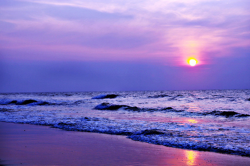 beach, ocean, photo, sunset, waves